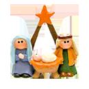 聖誕擺設-星星馬槽聖家小擺設